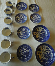 VINTAGE BLUE WILLOW DISHES YS JAPAN
