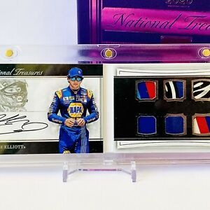 Chase Elliott National Treasures Autograph Booklet w/ 6 RACE USED PATCHES #17/25