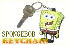 "Nickelodeon Spongebob SquarePants Rubber 2.75"" Tall Key Chain Circa 2002"