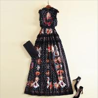 TWE62 Womens Designer Inspired Black Rose Print Polkadot Ruffle Party Dress 2019