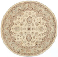 6X6 Hand-Knotted Oushak Carpet Traditional Ivory Fine Wool Round Rug D49912
