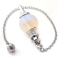 Chakra Gemstone Opalite Pendulum Divination Dowsing Reiki Ball Pendant