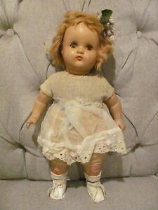 """Vintage Horsman Doll Composition Head Arms Legs, Cloth Body Sleep Eyes 18"""""""