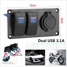 Car Marine 2-Gang Circuit Blue LED Rocker Switch Panel Breaker Dual USB Charger