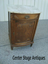 New listing 59952 Vintage Solid Oak Marble Top Storage Cabinet Chest Rare find