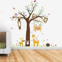 Zoo Owls Monkey  DIY Wall Stickers Nursery Kids Room Removable Mural Decal Decor