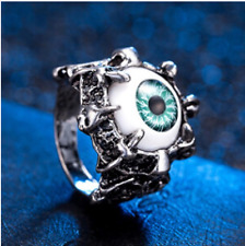 Evil Eye Gothic Rider Biker Classic Fashion Metal Silver Plated Size 10 Men Ring