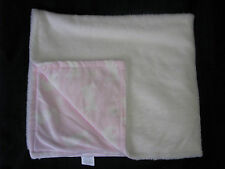 BLANKETS AND & BEYOND WHITE PINK BUNNY RABBIT BLANKET DANDELION BABY