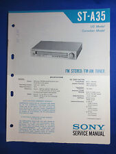 SONY ST-A35 TUNER SERVICE MANUAL FACTORY ORIGINAL GOOD CONDITION