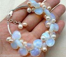 Tears drop  Opal and Fresh Water Pearl Cluster Bracelet