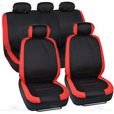 Tan Stitched Car Seat Covers - Red Accent on Black Flat Cloth 10 pc Front Rear