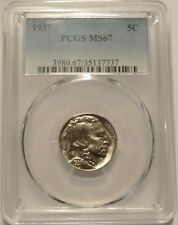 1937 Buffalo Nickel 5c PCGS MS67 ~ Blast White Lustrous Coin ~ Amazing