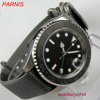 40mm parnis 316L steel automatic mens Watch Sapphire glass GMT Date Movement