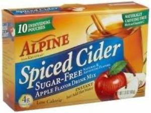 Alpine Spiced Cider Sugar-free Apple Flavor Drink Mix .14 Oz Pouch 10 Ct 6 Boxes