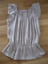 LADIES CUTE SHINEY BROWN/ BEIGE SLEEVELESS DROP WAIST TOP BY VALLEY GIRL SIZE 14