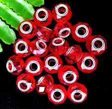 100Pcs With Metal Cap Red Lampwork Glass Facet Large Hole Beads 14*9mm HH103