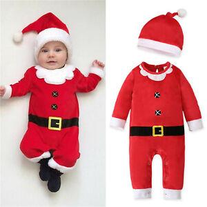 Newborn Baby Boys Girls Fleece Romper Jumpsuit Christmas Hat Outfits Costumes