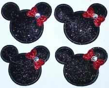 4PC Minnie Mouse Appliques Padded Glitter Patches Embelishments Scrapbook Crafts