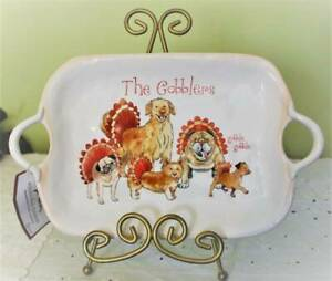 Dog Thanksgiving Platter The Gobblers by Sherri Buck Baldwin Porcelain
