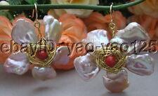 Purple Keshi Pearl Jade Earrings-Gold  Plated Hook