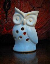 WHITE WASHED STRESSED ' WISE OWL ' Oil Burner / Melter HANDMADE CANDLE HOLDER