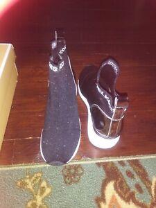 Girls Size 3 Michael Kors Sock Sneaker ( Black/ White/ Metallic