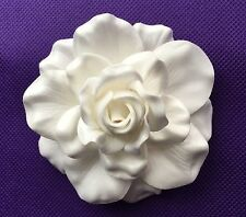 "3"" FOAM Gardenia Flower Wedding Bridal Prom Hair CLIP White Ivory NEW"
