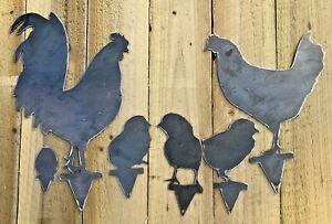 Chicken Family Chicks Rooster Hen Garden Metal Sign Wall Art CNC Decor Metal
