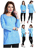 UK STOCK Blue Women Casual Indian Short Kurti Tunic Kurta Top Shirt Dress 123B