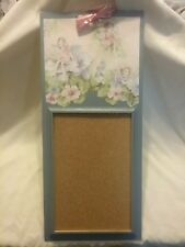 BULLETIN BOARD CORK BOARD on WOODEN FRAME & BOARD with WALLPAPER with FAIRIES