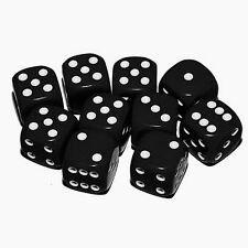 Dice - 10 x 16mm 6 sided spot dice - BLACK