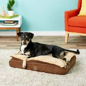 K&H Pet Products Feather-Top Orthopedic Pillow Dog Bed, Chocolate