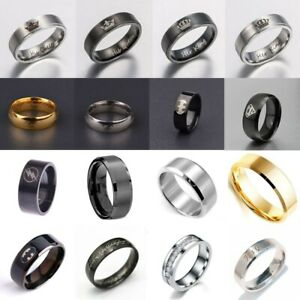 Men's Fashion Ring Titanium Stainless Steel Black/Gold/Silver 8mm Width Sz 6-12