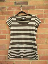 Per Una Brown Gold Glitter Striped Short Sleeve Top, Size 14 Spring / Summer Cas
