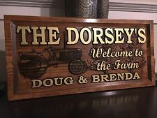 "11"" x 23"" x 3/4"" Personalized Wood Carved Farm Sign or Farm House Sign."