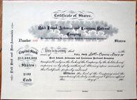 1900 Stock Certificate: 'Rock Island, Arkansas & Louisiana Railroad Company'