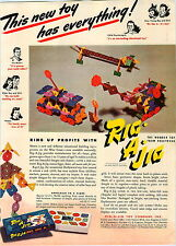 1946 PAPER AD 2 Sided Rig A Jig Wonder Toy Build Construction L E Carson COLOR