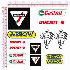 Adesivi sticker sponsor helmet moto michelin koni castrol arrow print pvc 14 pz.