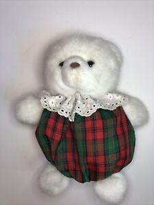 "Russ Holly White Bear Christmas Round Plush 7"" Stuffed Animal Toy"