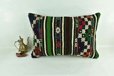Kilim Pillow Cover 16x24 Traditional Oushak Rug Handmade Lumbar Cushion 3114