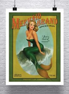 Mermaid Rum Vintage Advertising Poster Rolled Canvas Giclee Print 24x30 in.