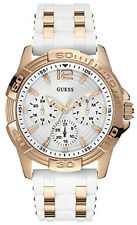 GUESS Women's White dial Chronograph Silicone Watch W0615L1