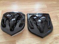 New  Dodge Ram 1500 2500 3500 Set Of Front & Rear Head Badge Emblem Black Mopar