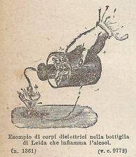 A1994 Bottiglia di Leida - Incisione - Stampa Antica del 1888 - Engraving