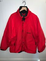 Marmot Mens Large Red Insulated Jacket Full Zip Button Up Elastic Sizing Tabs