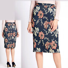 per Una Floral Jacquard & Metallic Pencil Skirt Size 16 Blue Mix ( )