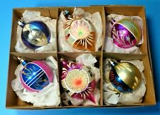 CHRISTMAS VINTAGE MERCURY GLASS BAUBLES 6 PAINTED BALL and TEARDROP CONCAVE CB63