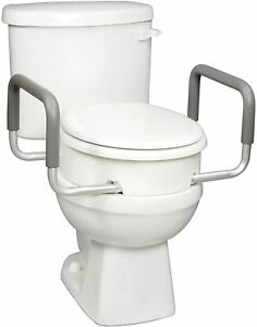 Carex 3.5 Inch Raised Toilet Seat with Handles For Round Toilets  Elevated Riser