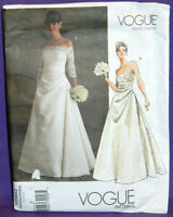 Uncut Vogue Sz 6-10 Formal Strapless Wedding Dress Pattern 2842 Bridal Gown