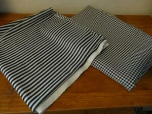 4 yds in 2 pcs Vtg/Retro Black&White Double Knit Fabric-Check and Stripe